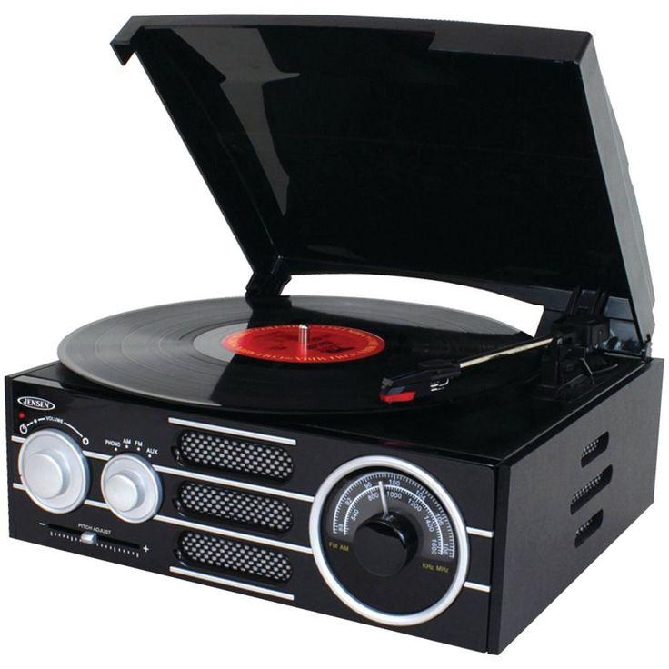 Black Portable Turntable 3 Speed Record Player Vintage Vinyl Phonograph Jensen #JENSEN