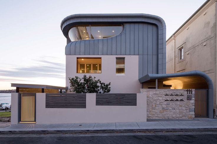 This residence in Bondi was designed by renowned architect ThomsonAdsett,  Installed by ARC,  and Built with Rheinzink Blue Grey Zinc,  standing seam. More project images click here: http://www.craftmetals.com.au/component/zoo/item/ramsgate-ave-bondi-nsw