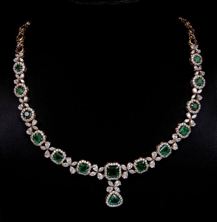 Classic emerald and diamond necklace