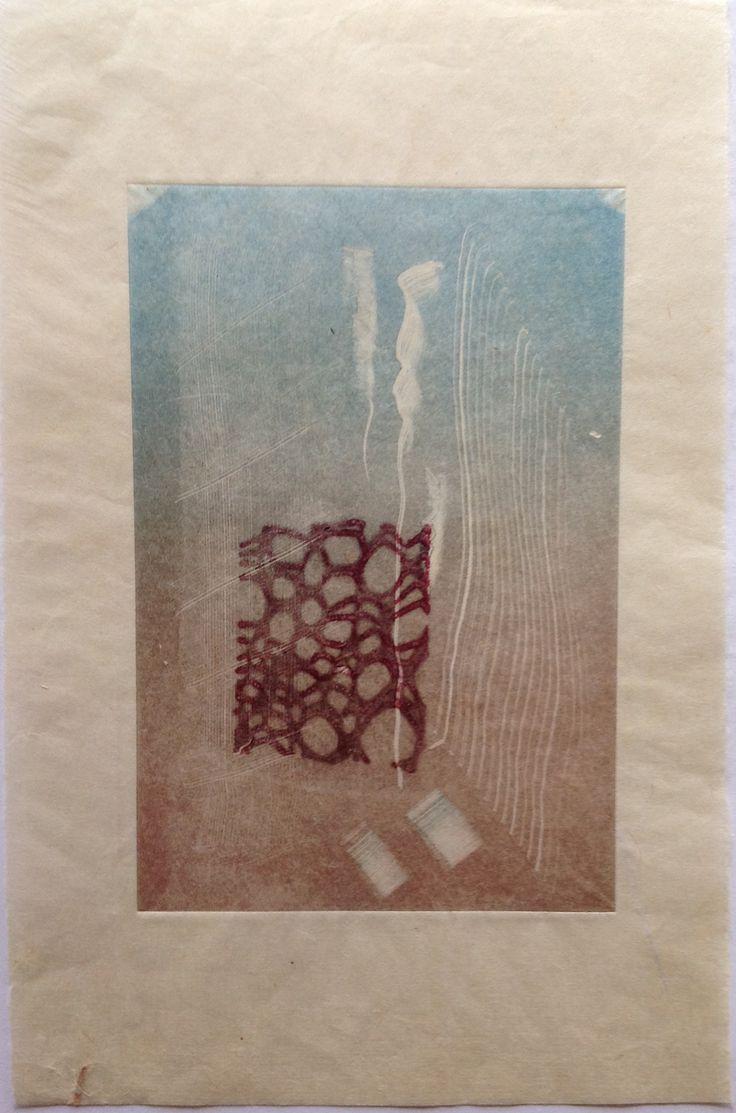 Nino Bellantonio. Untitled (Underwater): Monoprint shadow on Japanese Rice paper. Image size 12.5cm x 19cm.  SOLD