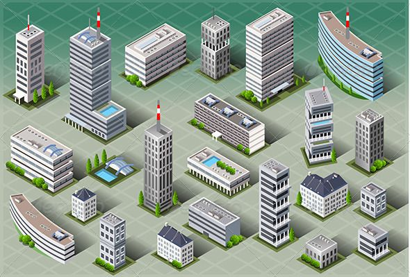 Isometric European Buildings 3d, apartment, architecture, blue, building, buildings, business, city, cityscape, collection, construction, design, estate, graphic, home, house, icon, icons, isometric, model, office, perspective, plan, real, set, skyscraper, street, town, urban, vector, Isometric European Buildings