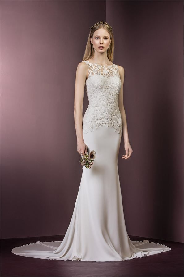 Breath-taking silk wedding dress with lace detail from Ellis Bridals. Style - 11484