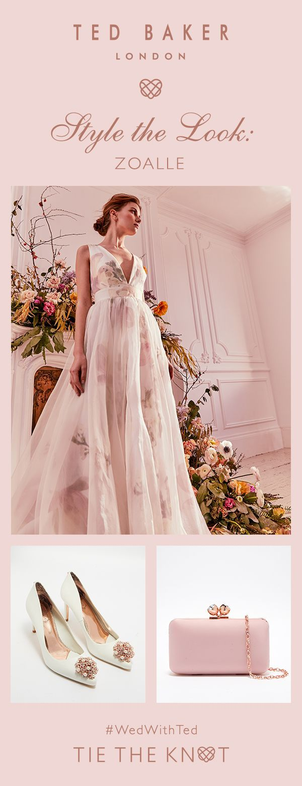 Style the look: match Ted's ZOALLE gown to feminine accessories for a truly romantic bridal ensemble.