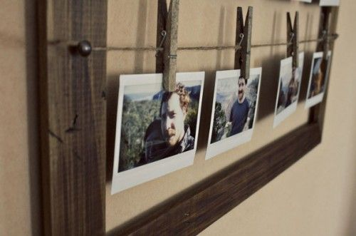 DIY Wood Photo Frame  I love the use of clothespins, it makes it so easy to change out the photos you are using!