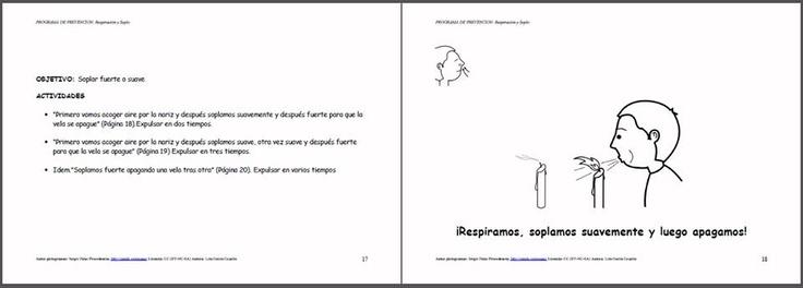 MATERIALES - Programa de prevención: Libro de respiración y soplo.    Programa de Estimulación del Lenguaje Oral para Infantil. Está pensado para trabajar de forma lúdica y en sesiones cortas en el corro la Articulación, Discriminación Auditiva, Praxias, Respiración y Soplo.     http://arasaac.org/materiales.php?id_material=969