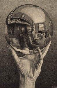 escher - autorretrato em esfera espelhada