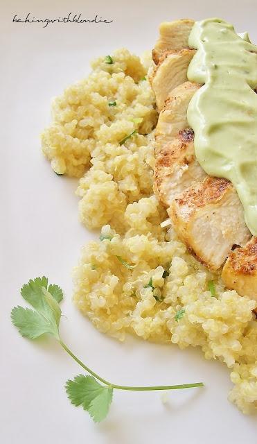 Baking with Blondie: Blackened Chicken and Cilantro Lime Quinoa with Greek Yogurt Avocado Puree