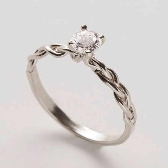 Braided Engagement Ring  14K White Gold and Diamond by doronmerav, $1180.00...I love the band part, though i would prefer cushion cut