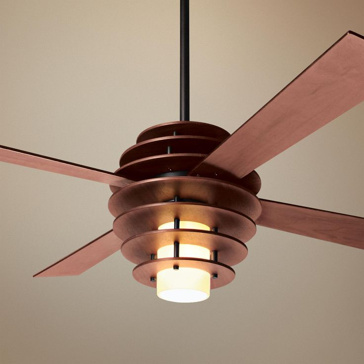 """I can't decide how I feel about this... very modern though. 42"""" Modern Fan Stella Mahogany-Bronze Ceiling Fan with Light -"""