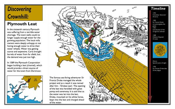 Drakes Leat: the brief was to imagine the scene as Sir Francis Drake galloped his horse along the water channel when it was newly opened, drawing for information panels in Plymouth