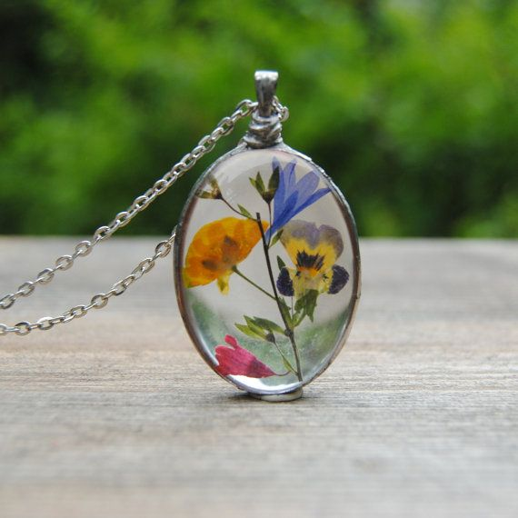 Pressed flower necklace  real flower necklace by IskraCreations