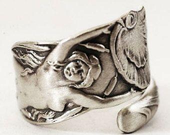 Mermaid Ring Sterling Silver Spoon Ring Art Nouveau by Spoonier