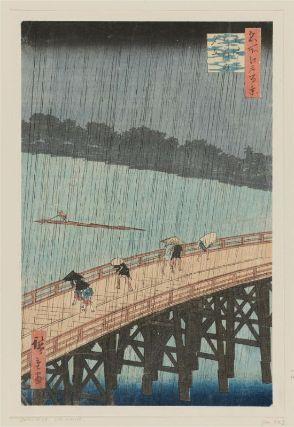 """Utagawa Hiroshige (1797-1858), (Ōhashi Atake no yūdachi (大はしあたけの夕立), 1857. From the series """"Meisho Edo hyakkei"""" (名所江戸百景). Signed Hiroshige ga (広重画). Nishiki-e ōban tate-e, cm. 35,2 x 23,8.  Publisher: Uoya Eikichi. Another fine impression of this famous print will be soon on auction at Florence Number Nine."""