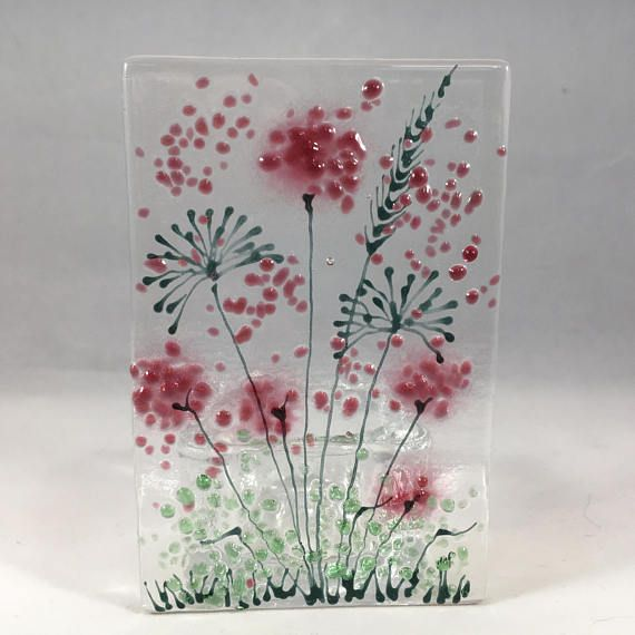 Floral Glass Plaque Candle Display Blue Flowers Fused Glass