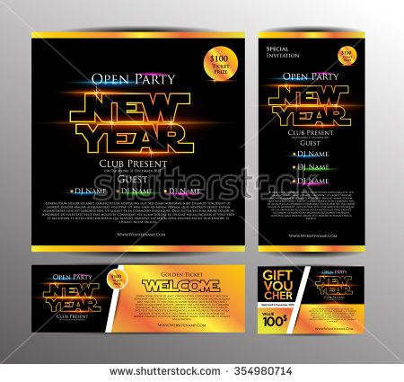 New Year Party Invitation Card, Golden Ticket and Gift Voucher with Space War Theme. Design Template. Vector Illustration - stock vector