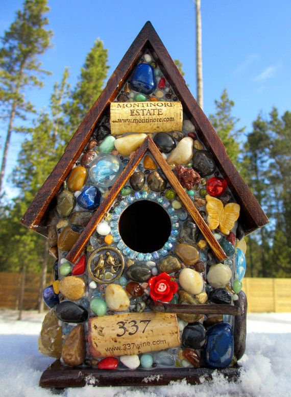 Mosaic Birdhouse with Blue Gem Stones and by WinestoneBirdhouses, $85.00