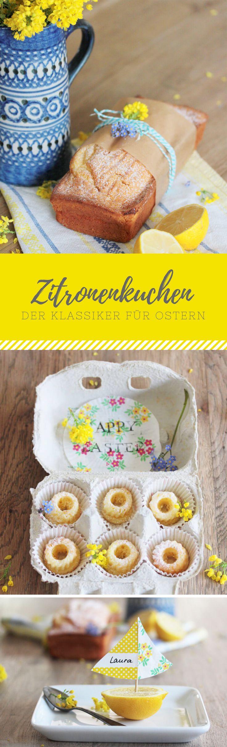 Der Klassiker perfekt für Ostern: Zitronenkuchen. Außerdem zeige ich euch noch eine Geschenkidee: Mini-Gugelhupfe und wie ihr aus den restlichen Zitronen Tischkarten basteln könnt.