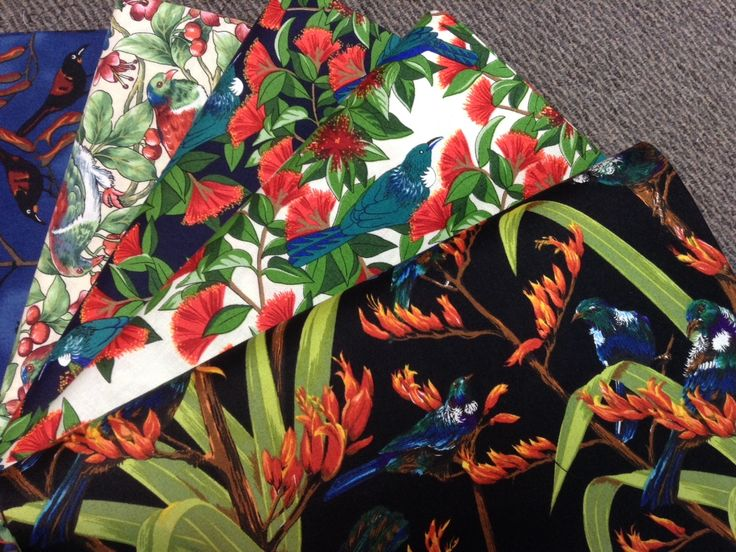 NZ themed 100% cotton quilting fabric. Native birds.