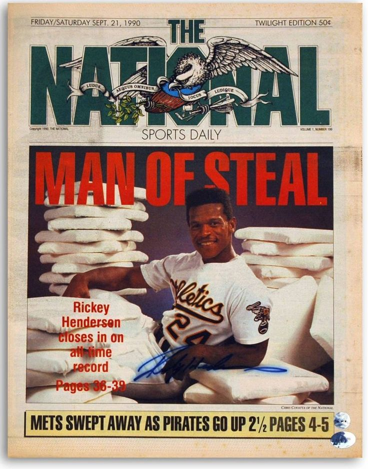Rickey Henderson Oakland Athletics Autographed The National Newspaper from September 21, 1990.