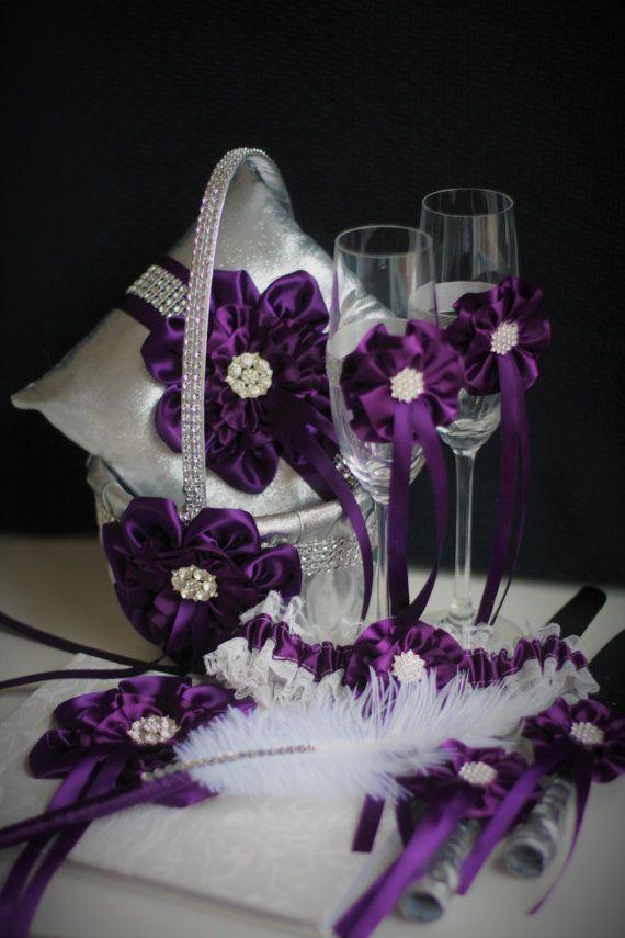 Plum Wedding Basket Plum Ring Bearer Pillow by AlexEmotions
