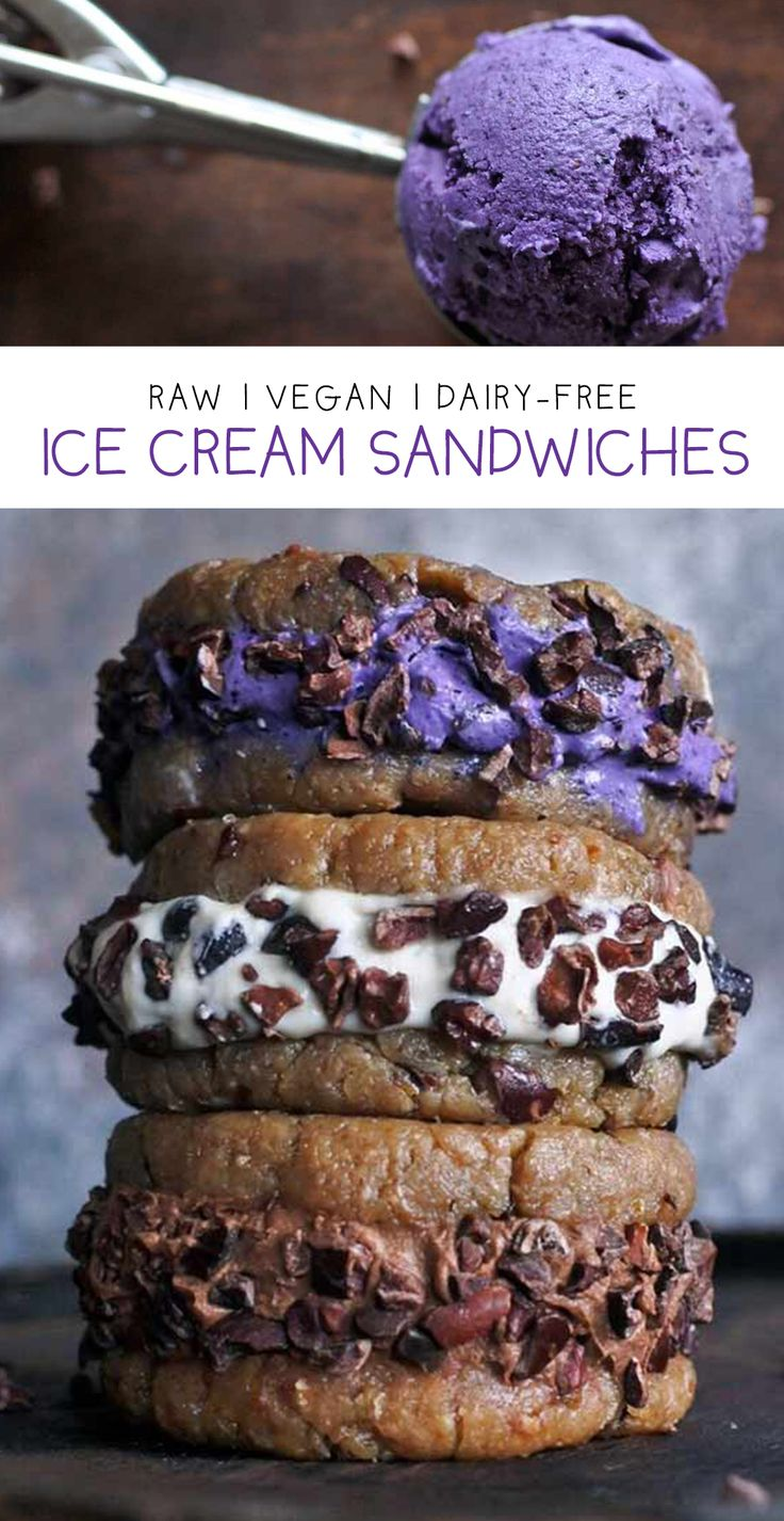 Dairy-free blueberry, vanilla and chocolate coconut ice cream and raw cashew cookies with crunchy cacao nibs! #vegan www.rawmanda.com