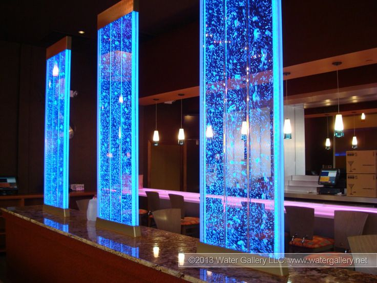 Patterned Glass Wall Lights : interior-luxurious-decorative-indoor-waterfall-with-electrical-blue-glass-partition-with-golden ...