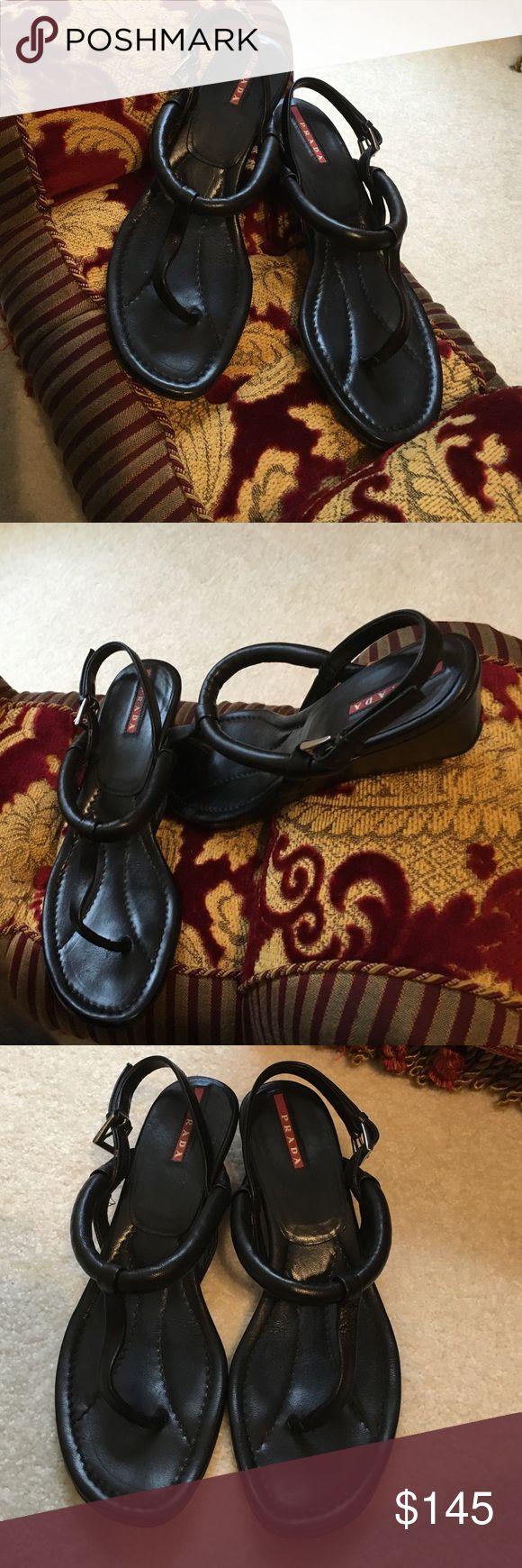 Prada Wedges Timeless Prada Linea Rosa black wedges! Extreme comfort, worn twice, excellent condition! Prada Linea Rossa Shoes Wedges