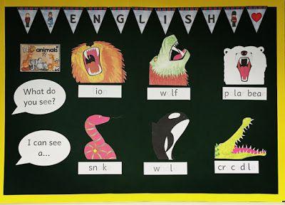 Bilder einer Englischecke in der Grundschule zu den Themen: colours, wild animals, clothes und money