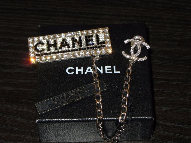 Rare HTF NIB CHANEL CC Logo Swarovski Crystals Metal Chain Pin Brooch Limited Ed #Chanel