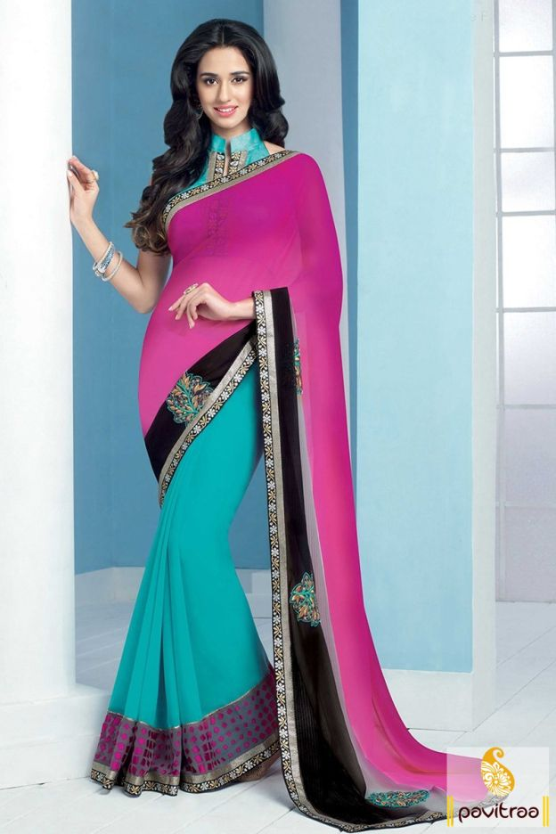 Exclusive latest turquoise and pink silk and georgette wedding saree online in India with price. Shop stylish marriage wear saree with fancy blouse and embroidery work with festival Diwali discount sale on online shopping store. Diwali Special Discount Offer:  5% OFF FOR Buy 1 Product 10% OFF FOR Buy 2 Product 15% OFF FOR Buy 3 Product or more #saree, #embroiderysaree, #weddingwearsaree, #partywearsaree http://www.pavitraa.in/store/embroidery-saree/ callus: +91-7698234040