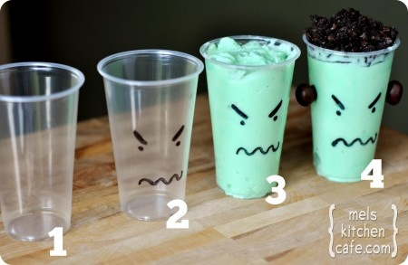 Can either be vanilla pudding died green or a minty milk shake.  Oreos or sprinkles on top.