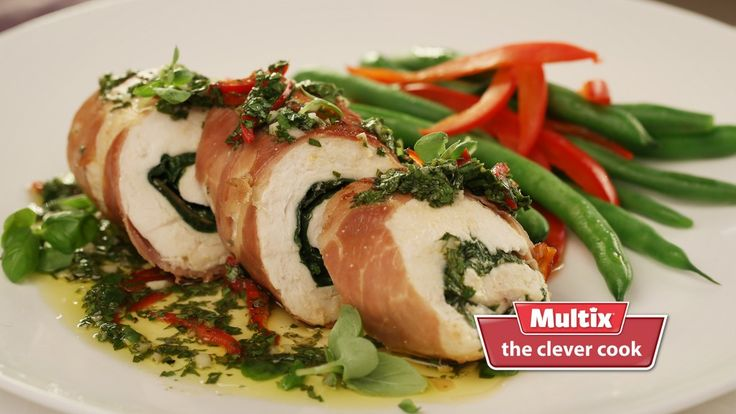chicken spinach and prosciutto involtini. Involtini is an Italian word for food consisting of some sort of outer layer wrapped around a filling. This chicken, spinach and prosciutto version is delectable.
