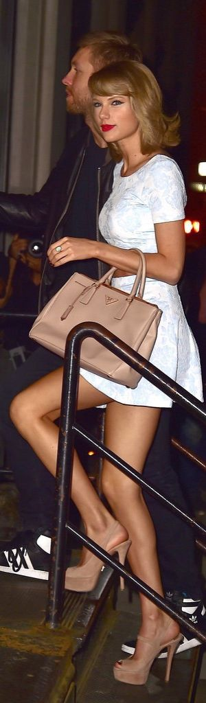Taylor Swift's Dreamy Date Night Look Consisted of a Prada Bag and an Aqua Crop Top and Skirt Set!