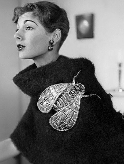 Elsa Schiaparelli (1890—1973). Italian fashion designer. She defined the meaning of avant-garde couture. Fly sweater 50s