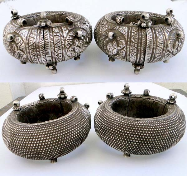 "India | Antique pair of hollow hinged angle bangles ~ Todo, singular toda or kalla ~ worn by the maldhari women and others.  Similar piece can be found in  ""Traditional jewelry of India"" By Oppi Untrecht , Page-273.  