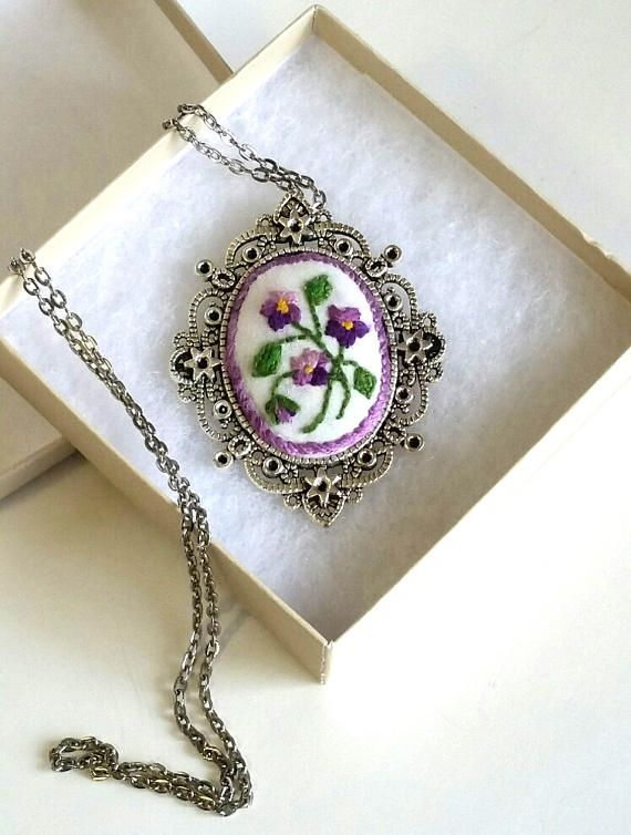 Antique silver necklace  Embroidery pendant  Valentine's