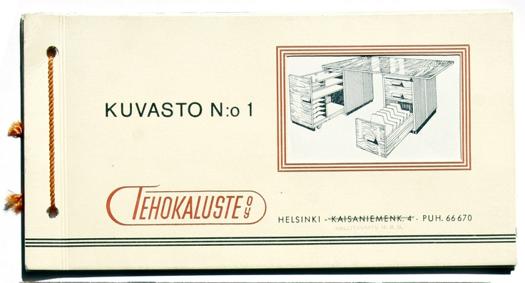 "Liisa Nironen, who later married to become Liisa Martela, designed the company's brochures in the 1940s. The selection in ""Brochure no. 1"" consisted of writing tables and chairs, plus smoking and telephone tables. In order to save costs, the brochure was illustrated with black and white drawings. Brochure no. 3 is already noticeably thicker and more colourful."