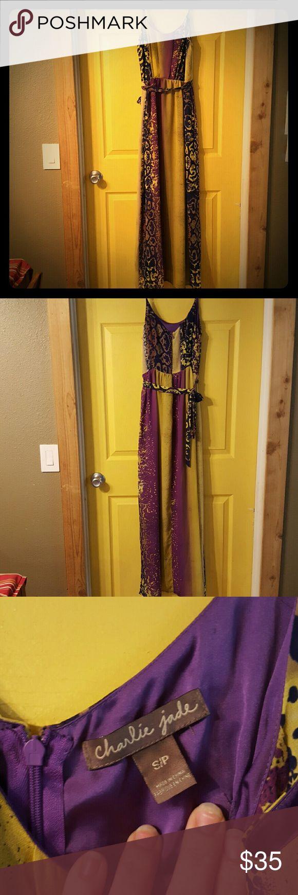 Gorgeous Charlie Jade silky dress Spaghetti straps, double slit, tied maxi/evening dress. Purple, blue and deep yellow python print. Charlie jade Dresses Maxi