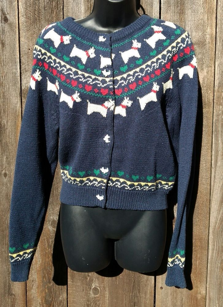 Blue Knit Westie Cardian Sweater Sz L 3D Dog Buttons Fair Isle Eagles Eye #TheEaglesEye #Cardigan #Casual