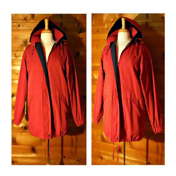 Womens Vintage Parka, Hooded Raincoat, 70s Parka, Red Winter Coat, Womens Snow Coat, Ski Coat, Water Resistant Insulated Parka // S