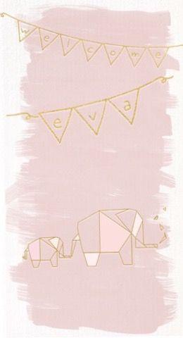 Geboortekaartjes / origamianimal / vosje / cardboard / handmade / design / StudioNOUK / geboortekaartje vanaf € 75,- / lief / leuk / stoer / origineel / modern / hip / kaartje op verzoek / fashion / trends / baby / zwanger / pregnant / illustratie / handdrawn / inkt / ecoline/ kan in alle kleuren!  EVA / meisje / olifant / cute / gouden foil / folie : glitter / girly / slinger