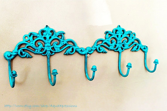 Metal Wall Hook /Turquoise Blue /Bright Shabby by AquaXpressions, $20.50: Turquoise Closet, Closet Hooks