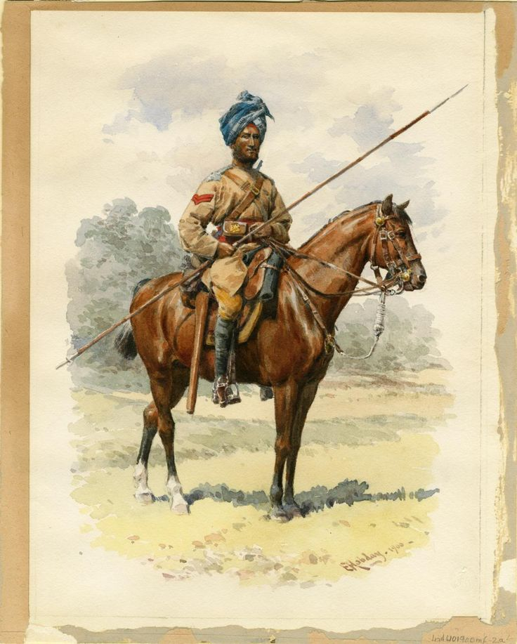 Corporal 13th Duke of Connaught's Regiment of Bengal Lancers by Hobday dated 1900 but loose cut of Uniform and cartridge pouches suggest an earlier date maybe 1880.