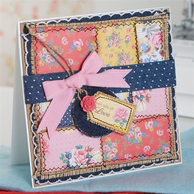 Stitched Denim and Floral Card Tutorial | docrafts.com