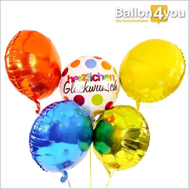 """Ballonbukett XXL - Herzlichen Glückwunsch bunt     Herzlich, bunte Glückwünsche!!! Dieses Ballonbukett besticht durch seine Farbenpracht und Eleganz. Im Mittelpunkt steht die Botschaft """"Herzlichen Glückwunsch"""", welche eine große Auswahl an Geschenkanlässen bietet."""
