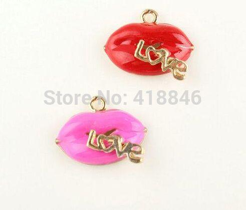 Сплав сексуальные горячие губы форма ювелирных изделий подвески 50 шт. 19 * 17 мм ярко розовый цвет сплава Diy ожерелье падения нефти подвески