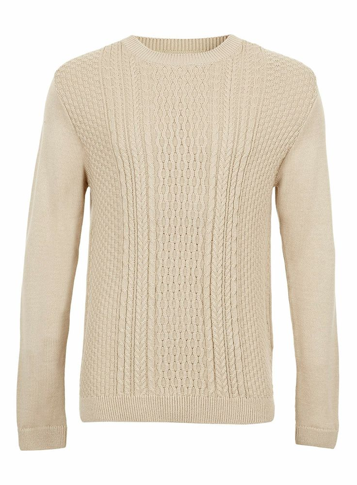 Oatmeal Cable Jumper - available at Topman! #Fashion #Style #MensClothing #Topman