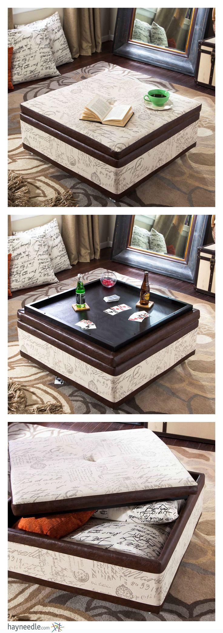 Best 25 storage ottoman coffee table ideas on pinterest diy armen living corbett leather and linen coffee table storage ottoman geotapseo Images