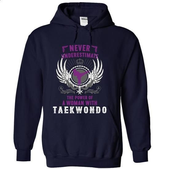 Never Underestimate A Woman With Taekwondo - #mens dress shirts #work shirt. BUY NOW => https://www.sunfrog.com/LifeStyle/Never-Underestimate-A-Woman-With-Taekwondo-NavyBlue-18413422-Hoodie.html?60505