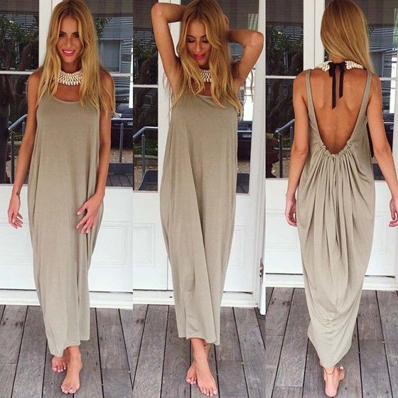 Grey Plain Shoulder-Strap Draped Backless Ankle length Casual Maxi Dress